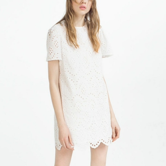 c6d27f1529 Zara white eyelet lace shift dress. M_5a7640d636b9de5e85b49198